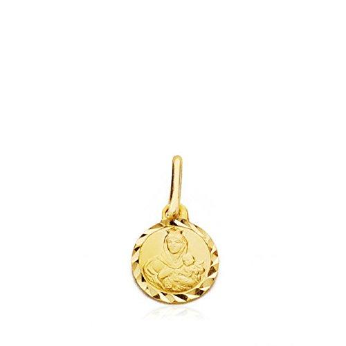 Medalla Oro 18K Virgen Carmen Lentejuela 7mm. Cerco Tallado [Ab4801]