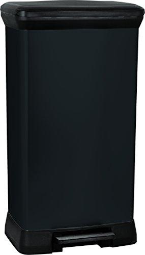 CURVER 187177 Treteimer, rechteckig, 50l, Polypropylen, 39x29x73cm, schwarzes Metall, 50 l