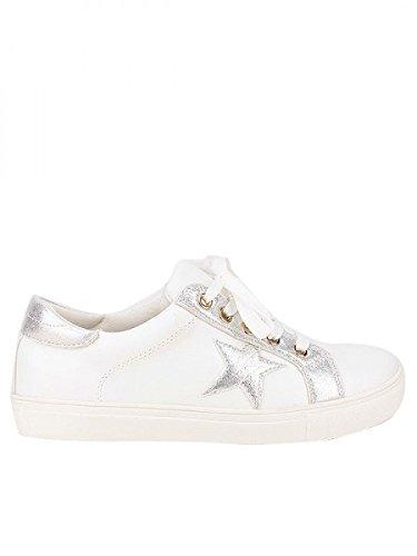Cendriyon, Basket Mode SLIP'S étoile argent Chaussures Femme Blanc