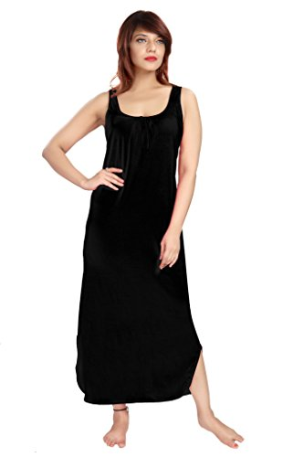 100% Cotton Women's Regular Fit Nighty Gown Slip in Black Color With Broad Strapes & Round Neck Night Inner Wear in Size M by City Girl PLUS  available at amazon for Rs.299