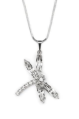 Passion Obscure Damen Halskette mit Anhänger Navette DragonFly mit Swarovski Elements Kristalle rhodiniert Kristallklar 40 cm Kette
