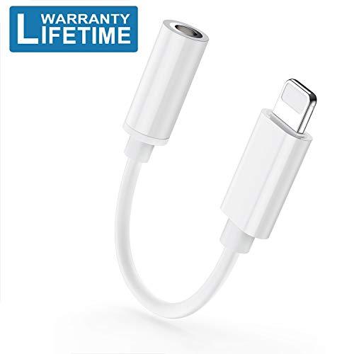 Adaptateur für Kabel für iPhone X Adapter Aux Audio-Zubehör auf 3,5 mm AUX für Kopfhörer iPhone XS/XR/8/8 Plus/7/7Plus/6/6S/6Plus Audiokabel-Splitter für iOS 12 oder später (Iphone 6 Audio-video-kabel)