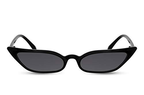 Cheapass Damen-Sonnenbrille Schwarz Cat-Eye Schmal Breit UV-400 Designer-Brille Plastik Frauen