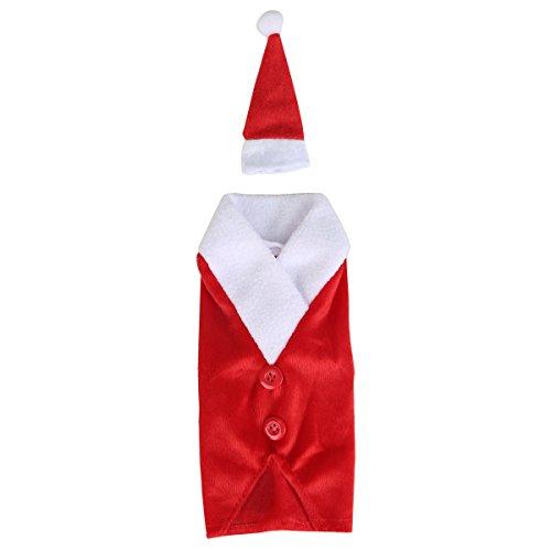 hnachtsweinflaschen-Abdeckung Wrap Neuheit Dekoration Santa Anzug mit Hut,Rot 02 (Red Santa Hüte)