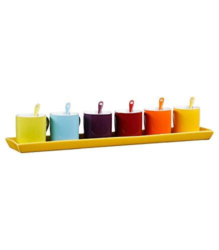 service à café 6 couleurs + cuillerres+plateau