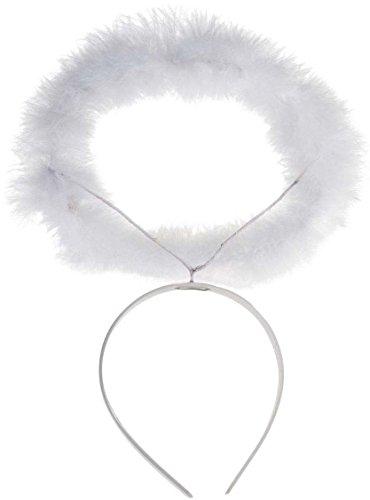 Widmann 8636A–Weißer Heiligenschein aus Marabou mit Haarreif, in Einheitsgröße (Engel Kostüm Für Kinder)