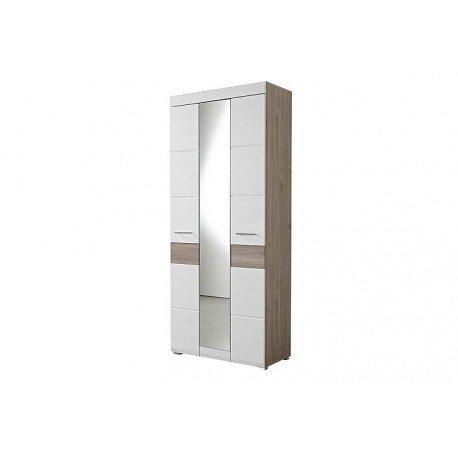 Avanti trendstore - funny - armadio guardaroba in imitazione di quercia d'argento bianco, ca. 84x200x40cm