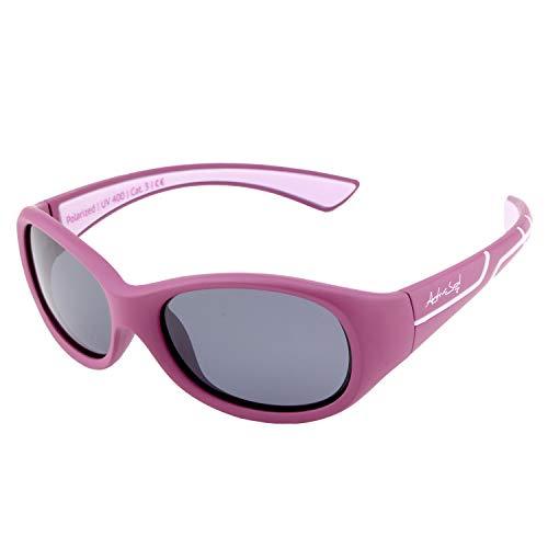 ActiveSol Kids @School Sport-Sonnenbrille | Mädchen und Jungen | 100% UV 400 Schutz | polarisiert | unzerstörbar aus flexiblem Gummi | 5-10 Jahre | nur 22 Gramm (Beere/Flieder) (Kids Mädchen Für)
