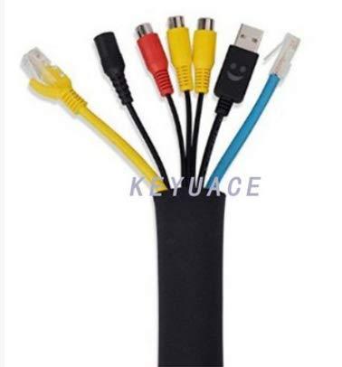 Outtybrave Kabel-Management-Hülle, Wuudi 1 Stück, 57,1 cm, schwarzes Neopren, Flexibles Kabel-Organizer für PC/Heimkino/Lautsprecher Home Entertainment-Center