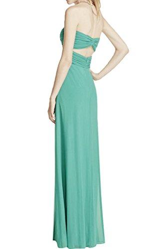 Prom Style Damen Strass Chiffon Traegerlos Abendkleider Ballkleider Cocktailkleider Partykleider Herzform Brautjungfernkleider lang Grassgruen