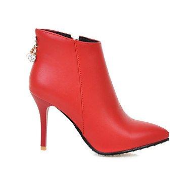 LFNLYX Da donna-Stivaletti-Formale-A punta / Stivali-A stiletto-Finta pelle-Nero / Rosso / Bianco Red