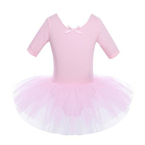 Mädchen Ballettkleid, iEFiEL Kinder Ballettanzug Tütü Ballett Trikot Turnanzug Kurzarm Ballettkleid mit Röckchen Rosa 110-116 (Kinder Tutus Ballett)