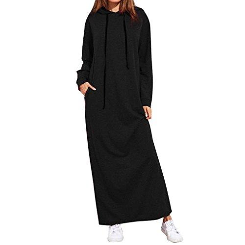 Kleid Damen Elegant, LHWY Winter Frau Maxi Jumper Kleid Langarm Mit Kapuze Baggy Casual Hoodies Pullover Pure Einfache Sweatshirt Bekleidung Tasche (XXL, Schwarz) (Nadelstreifen-rock Navy)