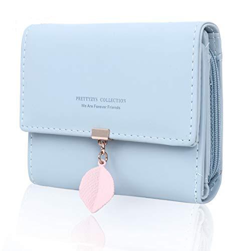 Geldbörse Damen - Geldbeutel Damen Leder Brieftasche, Portmonee Damen Leder Elegant Süß Handtasche Portemonnaie Geldbeutel für Frauen (Hellblau-c) -