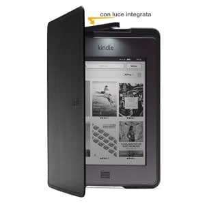 Custodia Amazon in pelle con luce per Kindle Touch, colore: Nero (adatta solo per Kindle Touch)