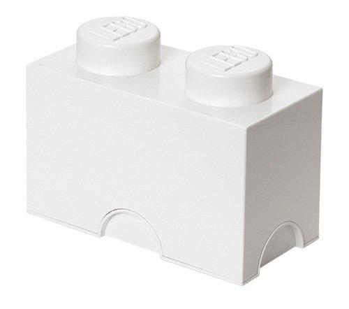 LEGO Aufbewahrungsstein, 2 Noppen, Stapelbare Aufbewahrungsbox, 2,6 l, weiß