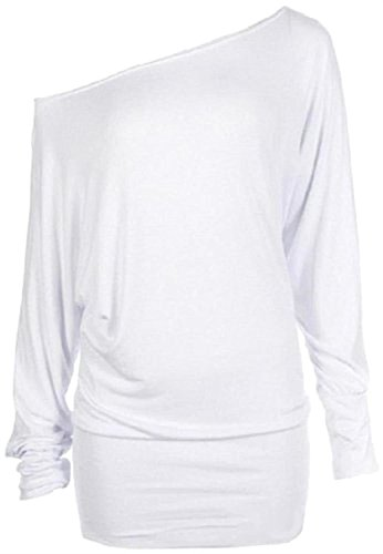 Chocolate Pickle ® Neue Damen Plus Größe Fledermausärmel Slouchy Plain Baggy Tops 36-62 White