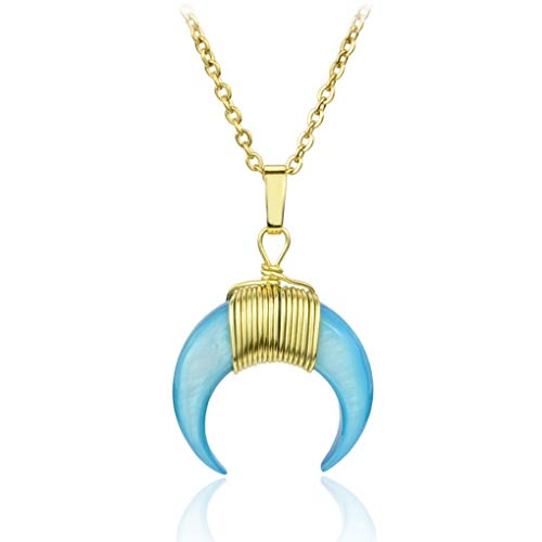 SUNIANA® - Seashell Halskette ♥OCEAN♥ mit Halbmond Anhänger in Türkis | Echtes Perlmutt |Muschel Damen Kette in Gold