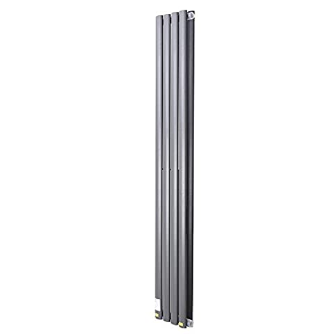 ReaseJoy Vertical Column Designer Radiator 1600x236mm 4 Grey Oval Double Flate Panel Heater Bathroom Central Heating