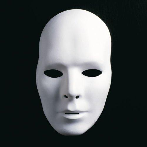 Maske Mann Für Den (Theatermaske Mann unbemalt weiß)