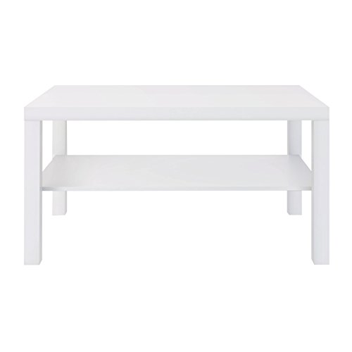 Furniture 247 Rechteckiger Couchtisch mit Ablagefläche- Weiß