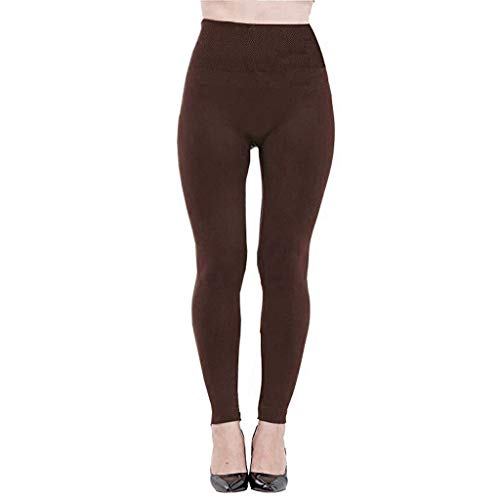 Leggings a vita alta in felpa foderata in pile da donna. leggings a vita alta (free, marrone)