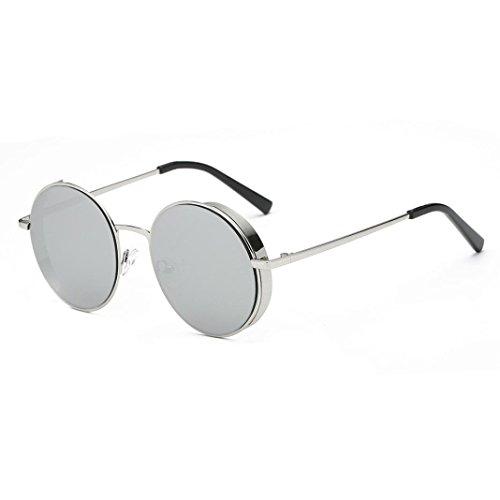 Herren und Damen Runde Sonnenbrille Rosennie Frauen Männer Mode Quadrate Metallrahmen Marke Klassische Sonnenbrille UV400 Kleine runde Spiegel reflektierendes Objektiv polarisierte Sonnenbrille (F)