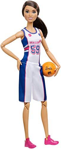 Barbie FXP06 - Made to Move Basketballspielerin Puppe, bewegliche Puppe mit 22 Gelenken, Puppen Spielzeug ab 3 Jahren (Sport Barbie)