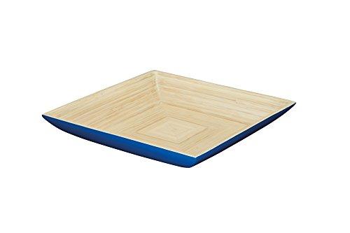 Kitchencraft WE Love Summer Bois Plat de Service/Bol de Fruits, Bambou, Bleu, 30.3 x 30.3 x 5 cm