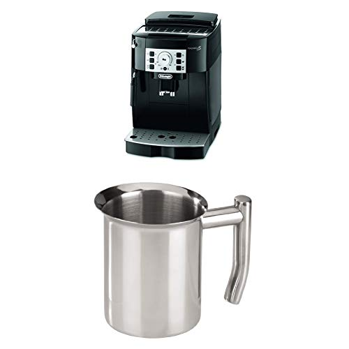 DeLonghi Magnifica S ECAM 22.110.B Kaffeevollautomat, schwarz + Xavax Milchkännchen aus Edelstahl 400 ml, silber