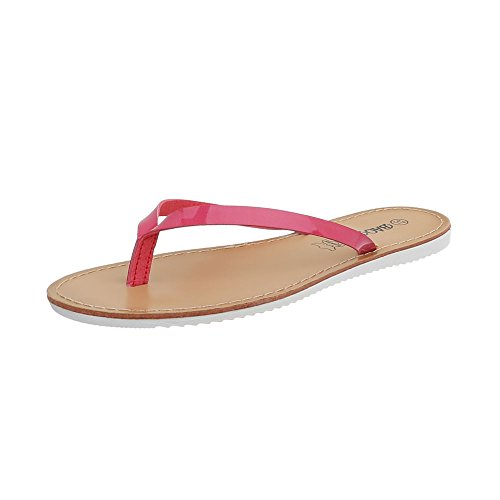 Ital-Design Zehentrenner Damen-Schuhe Sandalen & Sandaletten Pink, Gr 41, Ls16-5-