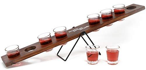 Com-four® rocker di schnapps con 8 bicchieri, rocker in legno per bevande con bicchierini di vetro, 60 x 10,5 x 9,5 cm