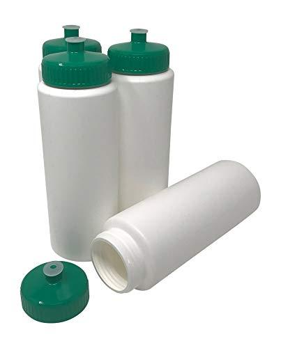 blanko, 91,4 ml, für Sport und Fitness, BPA-frei, HDPE-Kunststoff, Bulk, 4 Stück, White Bottle - Green Lid, 32 Ounces ()