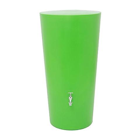 Regentonne Regenspeicher Rainbowl 210 Liter in der Farbe kiwi aus UV- und witterungsbeständigem Material. Regenfass bzw. Regenwassertonne mit kindersicherem Deckel und hochwertigen
