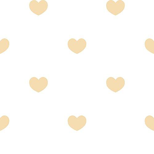 Tapete Herzen beige gold glänzend auf Boden Weiß für Schlafzimmer und Kinderzimmer Shabby Chic Märchen 303255 -