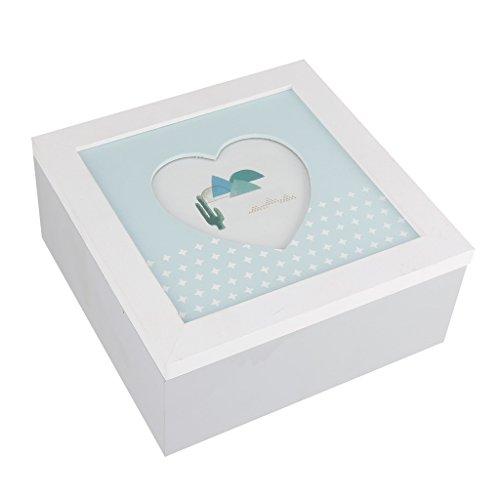 Dibor - French Style For The Home 'Aufbewahrungsbox für Baby-Andenken-Bilderrahmen in Herzform, für Fotos und anderen wertvollen Erinnerungen, tolles Geschenk für Babies, zur Taufe oder - Andenken-foto-box