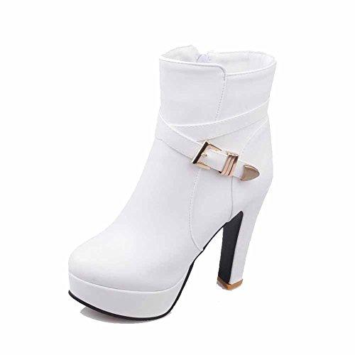 AllhqFashion Damen Niedrig-Spitze Reißverschluss Mittler Absatz Stiefel mit Metallisch, Weiß, 35