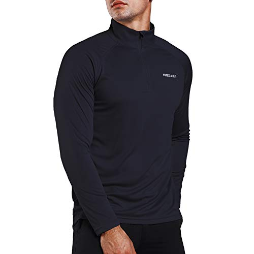 Ogeenier Herren UPF 50+ UV Sonnenschutz 1/4 Zip Langarmshirt Performance Langarm T-Shirt