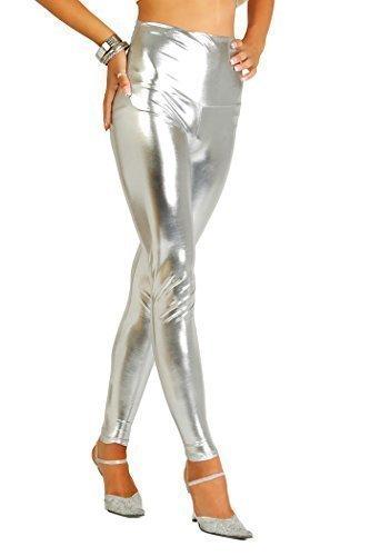 FUTURO FASHION Sexy Brillant Mat Full Leg Leggings Taille Haute Latex Imitation Cu