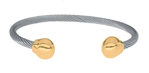 Sabona Magnetschmuck, OF LONDON Unisex Magnetarmreif aus allergenfreiem Edelstahl, vergoldete Abschlusskugeln mit 2 SmCo Magneten mit 1200 Gauß, Markenprodukt, XL: Handgelenksumfang von 18,5-20,5 cm
