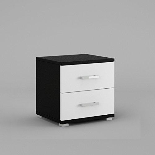 neli-n2-table-de-chevet-table-de-nuit-2-tiroirs-le-corps-noir-mat-le-front-blanc-haute-brillance