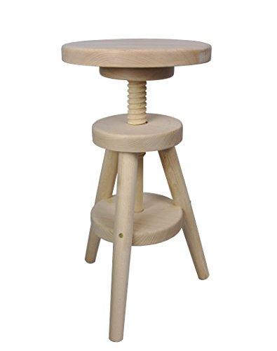 Magnetic Mobel® Hocker Massiv Schemel Stuhl Sitzmöbel Buche Drehhocker Barhocker 52-70cm (Unbehandelt)