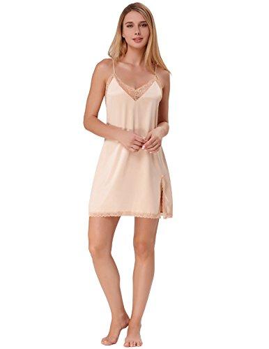 Frauen Nachtwäsche Chemise Nachthemd Full Slips Lace Trim unter Kleid XL Champagner (Slip Lace-slip-full)