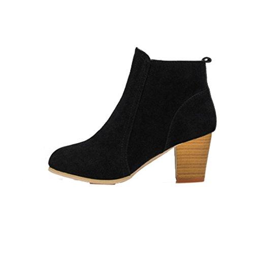 Martin Stiefel Damen Schuhe Sonnena Frauen Ankle Boots Herbst Winter stiefeletten Women High Heels Flach Schuhe Velours Look Trichterabsatz Schuhe Reißverschluss Outdoor schuhe (37, Sexy Schwarz) (High Boots Womens Flach)