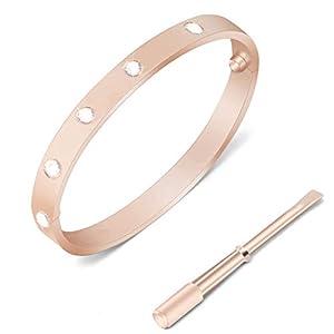 1set Art und Weise Liebes-Armband Titan Luxus Stahlarmband mit Schraubendreher Silber Cuffs-Schmuck-Set Elegante Schnalle Armband Rose Gold Armband