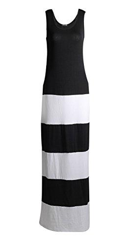Fast Fashion Damen Maxi Kleid Promi Inspiriert Streifendruck Farbbedienfeld