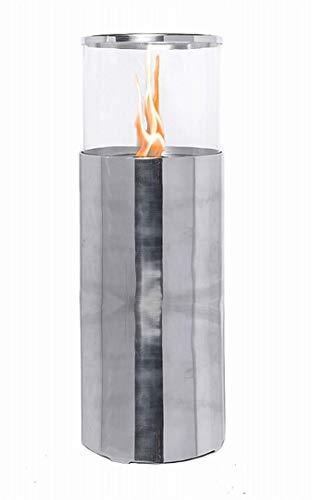 JonaFire Standkamin Standfeuer 105cm Aluminium Kamin Nick poliert Indoor & Outdoor