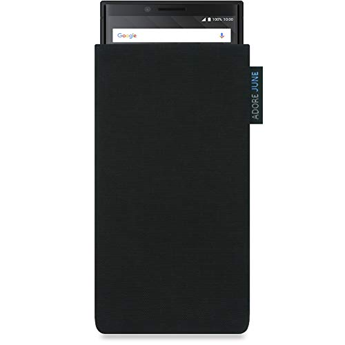 Adore June Classic Schwarz Tasche für BlackBerry Key2 und BlackBerry Key2 LE Handytasche aus widerstandsfähigem Cordura Stoff | Robustes Zubehör mit Display Reinigungs-Effekt | Made in Europe