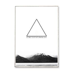 DIN A3 Kunstdruck Poster SILENCE IS BETTER -ungerahmt- Berg, Gebirge, geometrisch, Dreieck, Typografie, skandinavisch…