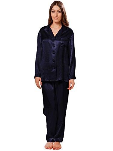 ELLESILK Seide Schlafanzug Damen mit Hosen, Damen Nachtwäsche aus 100% reine Maulbeerseide, Hypoallergen, Navyblau, S (Nachtwäsche Seide Schlaf-hose)